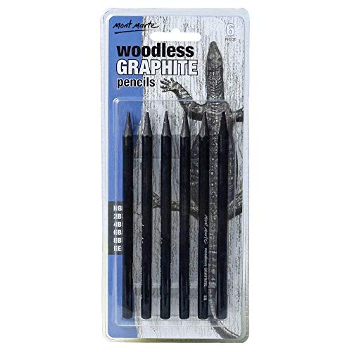 Mont Marte Woodless Graphite Pencils 6 Piece (HB, 2B, 4B, 6B, 8B and EE), Suitable for Sketching, Drawing and Shading