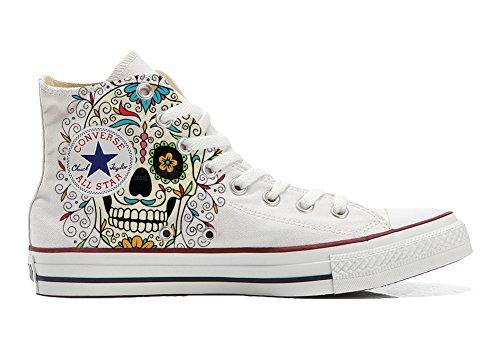 Zapatillas Personalizadas Originales Alta – Zapatos artesanales – con diseño de Calavera Mexicana, Blanco (Blanco), 38 EU