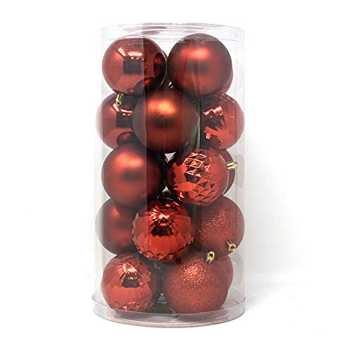 allgala 20 PK 3 Inch (8CM) Large Christmas Ornament Balls for Xmas Tree-4 Style-Red