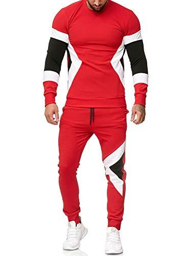OneRedox | Herren Trainingsanzug | Jogginganzug | Sportanzug | Jogging Anzug | Hoodie-Sporthose | Jogging-Anzug | Trainings-Anzug | Jogging-Hose | Modell 1215 Rot L