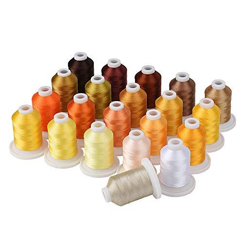 Simthread - Kit de hilo para máquina de bordar (800 y 21 carretes de colores marrón y dorado para diseño profesional de bordado