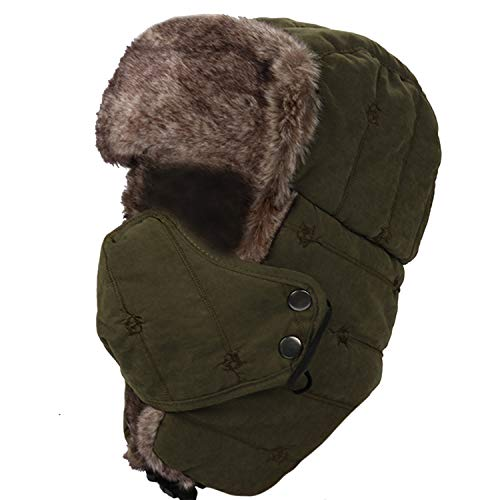 M MOACC Faux Fur Trapper Hat for Men Cotton Warm Ushanka Russian Hunting Hat Skiing Cap,Army Green
