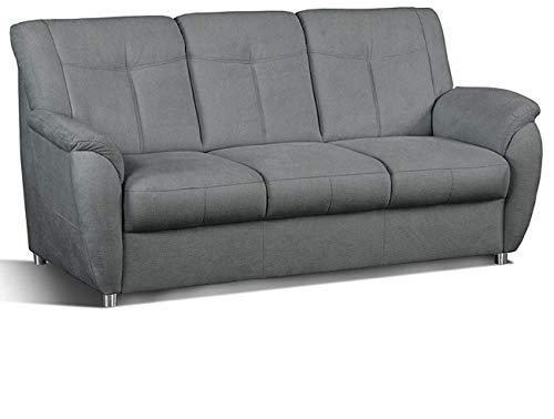 Cavadore 3- Sitzer Sunuma mit Federkern / Moderne 3 sitzige Sofagarnitur / Größe: 189 x 91 x 90 cm (BxHxT) / Farbe: Grau