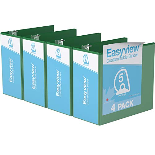 """Easyview Premium, Angle D Ring, Customizable, View Binder, 4 Pack (5"""", Green)"""