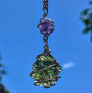 MOLDAVITE & Tanzanite Necklace Wire Wrap 925 Silver Charged 19