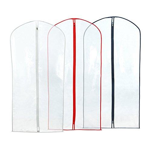 6 wasserabweisende Kleidersäcke - transparent mit buntem Saum - 100cm - Hangerworld