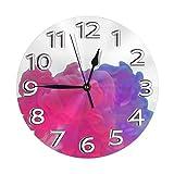GOSMAO Reloj de Pared Redondo, Humo PNG Rojo púrpura, Reloj