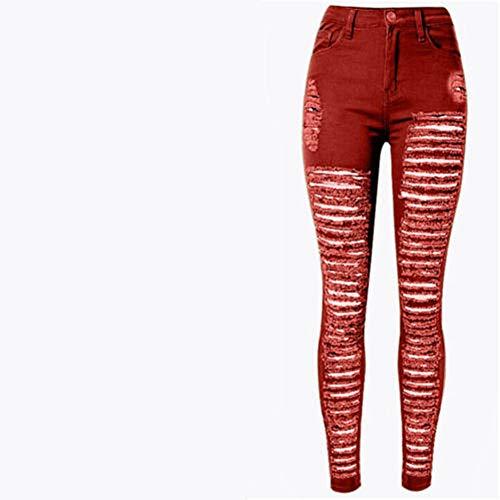 FCWJHNTSL Jeans da Donna Strappati Distrutti da Donna Sexy Pantaloni Skinny a Foro Alto Jeans Elasticizzati a Vita Alta Pantaloni Slim a Matita Nero Bianco Blu-color4_S