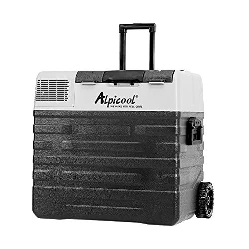 Alpicool 62L NX62 - Nevera portátil de 12 V y 24 V, nevera eléctrica pequeña para coche, camping, camión, barco y enchufe con conexión USB, barra telescópica, rueda