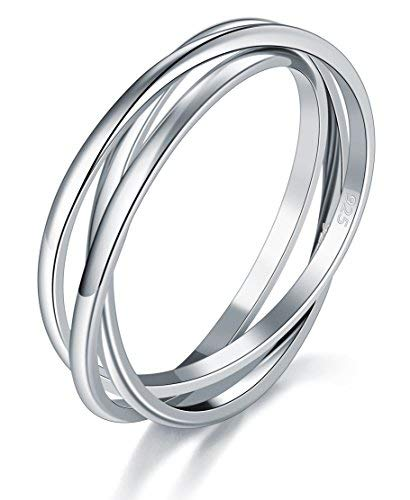 BORUO 925 Sterling Silver Ring Triple Interlocked Rolling High Polish Tarnish Resistant Wedding Band Stackable Ring Size L