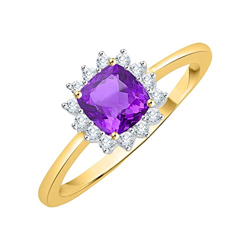 KATARINA Anillo de moda de amatista de talla cojín y diamantes en oro de 14 k (7/8 cttw, G-H, I2-I3)