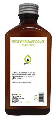 Huile d' AMANDE DOUCE pressée à froid- 100% PURE - Purespa By Purenail, Soin du corps- 250ml