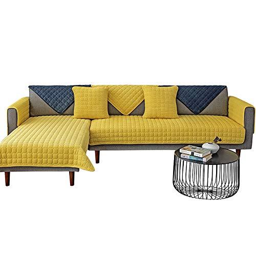 YUTJK Nicht elastisch Sofa überwurf Chaise Longue Linke & rechte Liege, frontansicht, Chenille, Cord warme Sofabezug, Für Ledersofas, Gelb