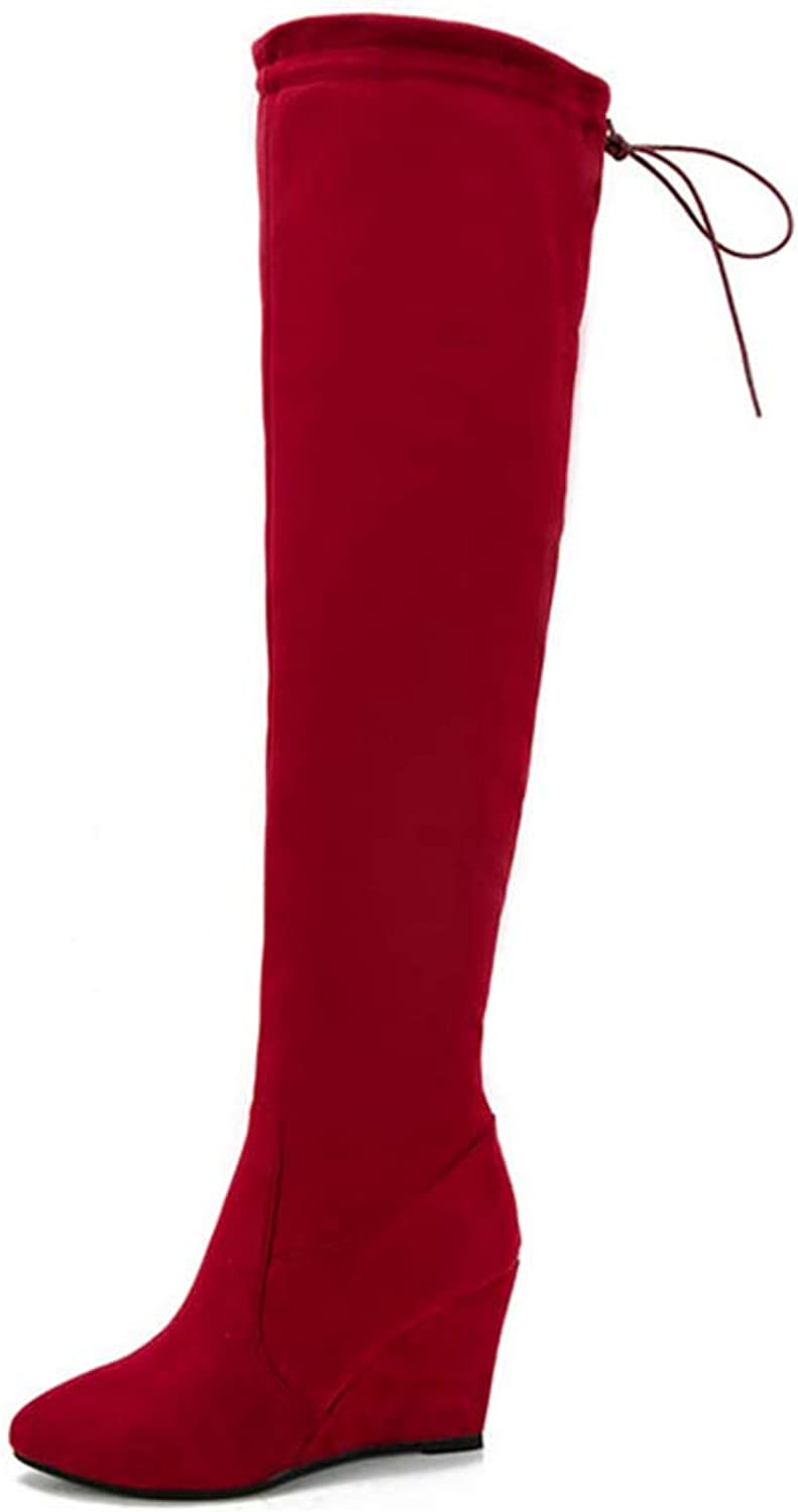 Ladies Winter shoes Wedge High Heel Over The Knee Boots Flock shoes Woman Motorcycle Boots Long shoes