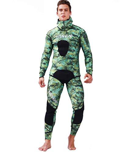Z&X Camouflage Taucheranzug-Professionelle Jagdfischanzug 1.5mm Freitauchen Outdoor Steinmuster Mit Kapuze Elastische Kraft Warm Split Angeln Angeln,XXXL
