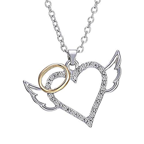 Collar Alas de ángel Amor Corazón Collares pendientes Joyería de cristal de moda para mujeres Boda nupcial