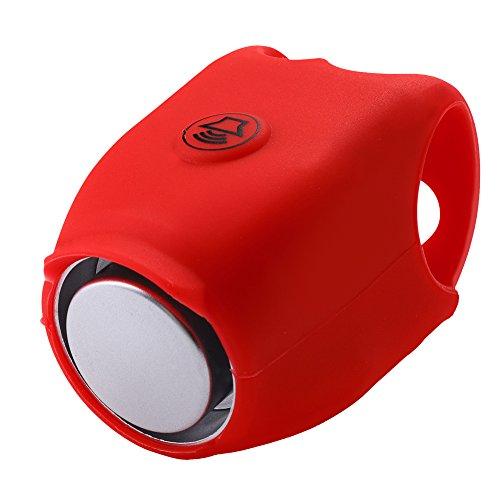 Fahrradhupe Silikon 120 db Elektrisch Fahrradklingel Fahrradring Fahrrad Lenker Alarm für Fahrradfahren(Rot) (Rot)