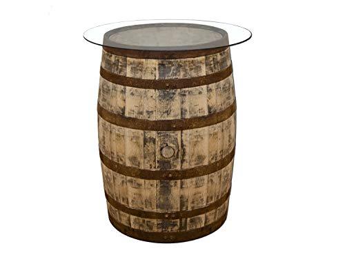 Temesso Tonneau à Whisky en Chene avec Plateau de Table en Verre - poncé (Nature avec Plateau de Table en Verre)