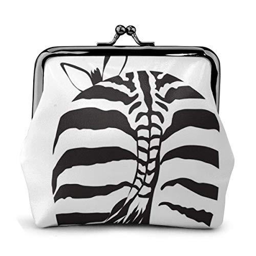 Zebra Back Sketch Blanco y Negro Cuero de la PU Exquisita Hebilla Monederos Monedero Bolsa clásica Monedero con candado clásico WA