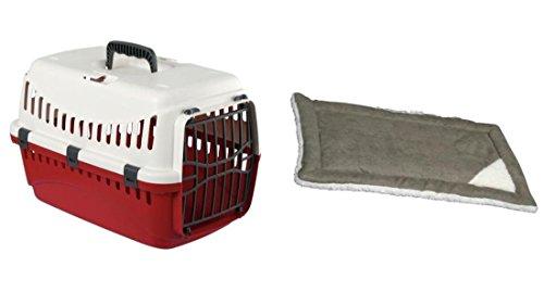 Cajou Transportbox für Katzen, Kleintiere und kleine Hunde bis 10 kg (creme/bordeaux)