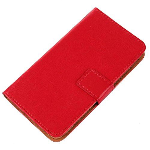 Gukas Design PU Leder Tasche Hülle Für Archos 50 Helium / 50b Helium 4G Brieftasche mit Kartenfächer Schutzhülle Protektiv Hülle Cover Handy Etui Skin (Farbe: Rot)
