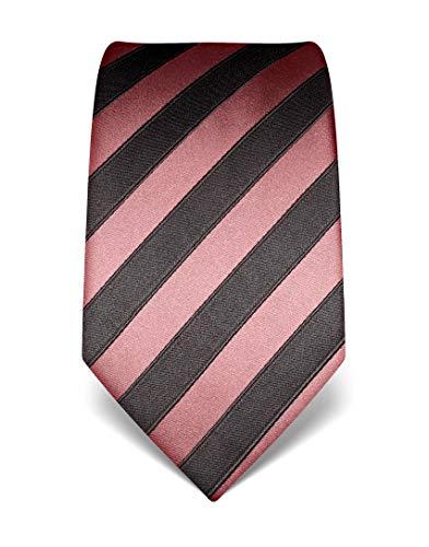 Vincenzo Boretti Herren Krawatte reine Seide gestreift edel Männer-Design zum Hemd mit Anzug für Business Hochzeit 8 cm schmal/breit altrosa