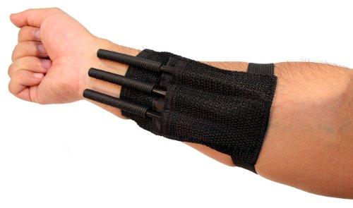 New 3 Pc 6' Black Throwing Spike Darts Ninja Tactical w/Wrist Straps Sharp