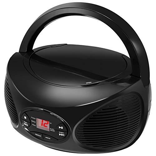 GPX Portable Bluetooth FM Radio Boombox and CD Player, Black (BCB119B)
