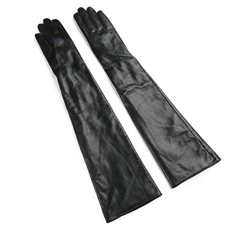 Ambesi Women's Fleece Lined Opera Long Lambskin Leather Winter Gloves Black XL