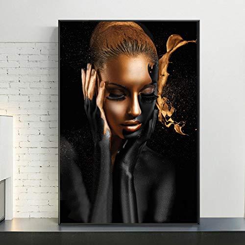 Nativeemie Art Pared Moderno Art Africano Mujer Pintura Oro Negro sobr Lienzo Carteles Impresiones Imag Pared escandinava Sa Estar Decor para el hogar 50x70cm / 19.7'x27.6 Marco Interno