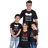 Trajes a Juego para la Familia de Verano Estampado de Dinosaurios Mamá Bebés y Papá Bebés Camiseta para Padres e Hijos Ropa de algodón Transpirable Camiseta Transpirable para Padres e Hijos
