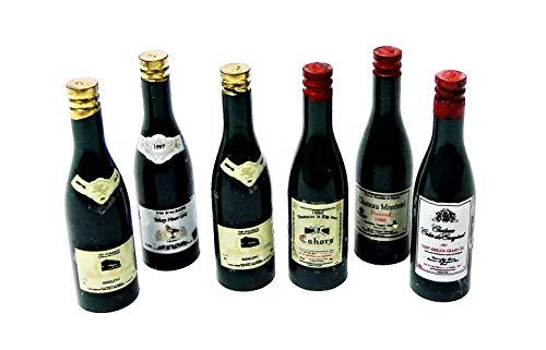 Melody Jane Casa de Muñecas 6 Botellas de Vino Rojo y Blanco Miniatura Bar Pub Accesorio