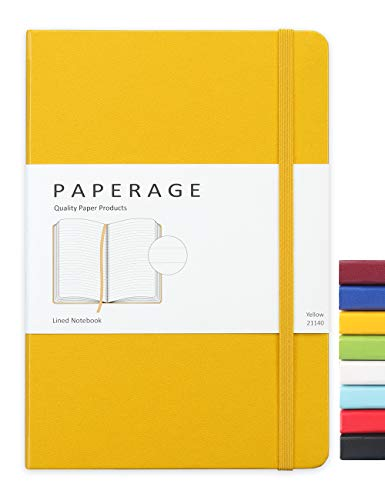 Paperage Lined Journal Notebook, Hard Cover, Medium 5.7 x 8 inches, 100 gsm Thick Paper (Yellow, Ruled)