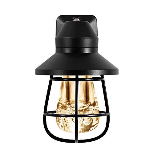 GE Vintage LED Night Light, Plug-In, Dusk-to-Dawn, Farmhouse Decor, Rustic, UL Listed, Ideal for Bedroom, Nursery, Kitchen, Bathroom, Black Cage, 38628, 1 Pack