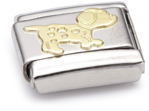 Nomination Composable Classic Land Animals Dog Stainless Steel and 18K Gold