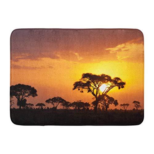 """ECNM56B Fußmatten Bad Teppiche Fußmatte Safari Typische afrikanische Sonnenuntergang Akazien in Masai Mara Kenia Landschaft Savanne Badematte 15,8\""""x 23,6\"""""""