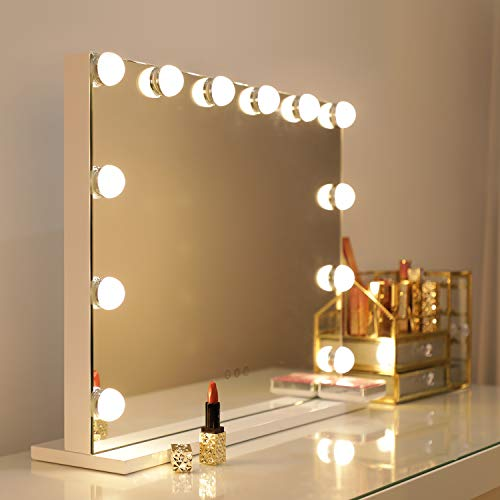WAYKING Makeup Mirror with Lights, Hollywood Lighted Vanity Mirror with Touch Screen Dimmer, Large Tabletop Mirror with USB Charging Port, Adjustable 3 Color Lighting, White (L22.83 x H17.32 inch)
