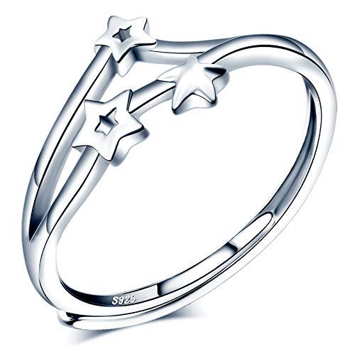 CPSLOVE Anillo de mujer niña, anillo de plata 925, Anillos meteorito, anillo de estrella, anillo abierto, tamaño ajustable, anillo de bodas, de compromiso, Circunferencia de dedo adecuada:48,5-57mm