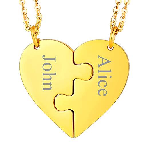 FaithHeart Gold personalisierte Namenskette aus Edelstahl Puzzle Herzkette Paar Kette für Liebespaar und Ehepaar als Valentinsstag/Jubiläum Geschenke