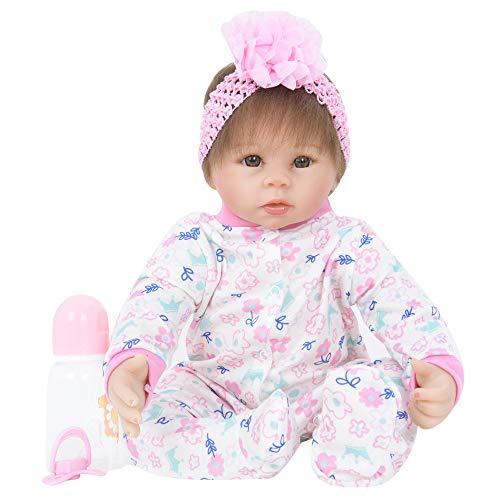12shage My First Baby Annabell weiche 55CM Babypuppe mit Schlafaugen, pinkem Strampler und Mütze, inklusive Trinkfläschchen, geeignet ab 12 Monaten (04)