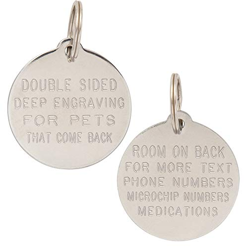 Leashboss Double Sided Dog Tags Personalized for Pets, Deep Engraved Stainless Steel Pet Tags and Cat Tags, up to 10 Lines Custom Pet ID Tags, Bone, Round, Heart, Small, Medium, Large (Round)