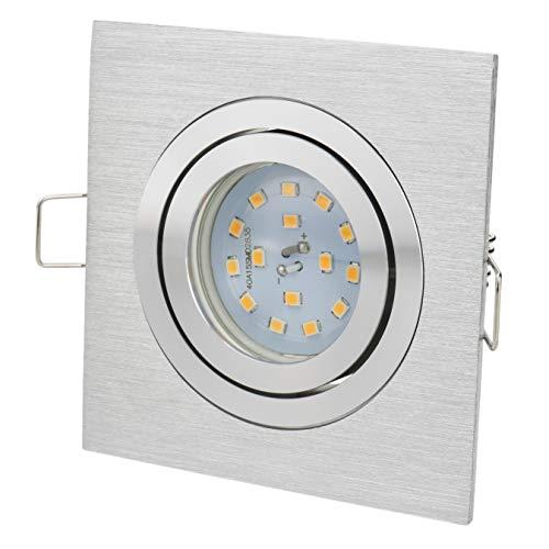 Spot Encastré Carré orientable | Aluminium Brossé | | 230 V GU10 LED 5 W Blanc Chaud 2700 K 450 Lumen | Douille de lampe avec anschuss Câble inclus