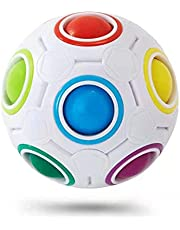 Vdealen Challenge Puzzle Speed Cube Ball, Color Matching Game, Fun Fidget Toy Puzzle (Witte Regenboogbal)