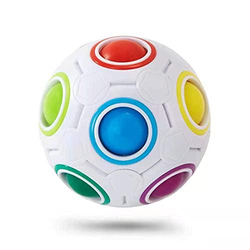 Vdealen Challenge Puzzle Speed Cube Ball, Juego de Combinación de Colores, Divertido Rompecabezas de Juguete Fidget (Bola Arcoiris Blanca)
