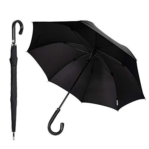 Sicherheitsschirm Paraguas de defensa propia defensa (gancho redondo, negro, 105 cm)