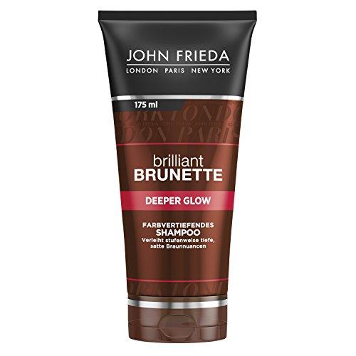 John Frieda Brilliant Brunette Deeper Glow - Farbvertiefendes Shampoo - Kreiert ein tieferes, satteres Braun - Mit Kakao - Inhalt: 175 ml