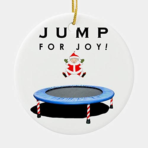 Trampoline Christmas Ceramic Ornament Custom with Any Name and Date Porcelain Christmas Ornament