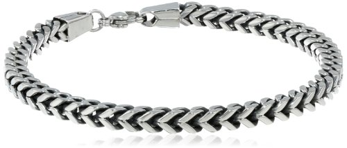 Men's Antique Finish Stainless Steel 5mm Wheat Chain Bracelet, 9""