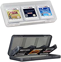 Haobase 2Pcs 6-in-1 Clear & Gray Game/Memory Card protection hard case for Nintendo 3DSLL