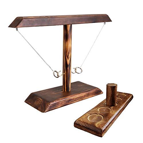DIIQII Ring Toss Game, Holz Tischplatte Hook Ringwurfspiel Kinder, Premium Party Wurfspiele Spiel für Family Bar Fun Indoor/Outdoor Game